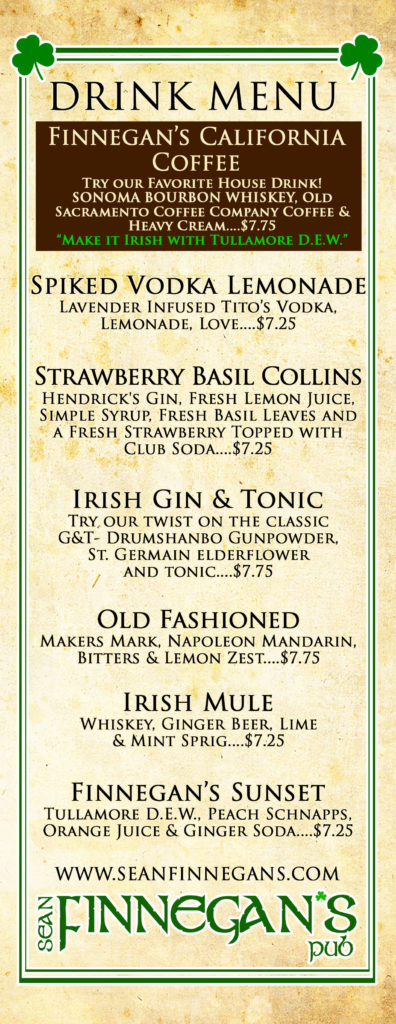 Finnegan's Cocktail menu