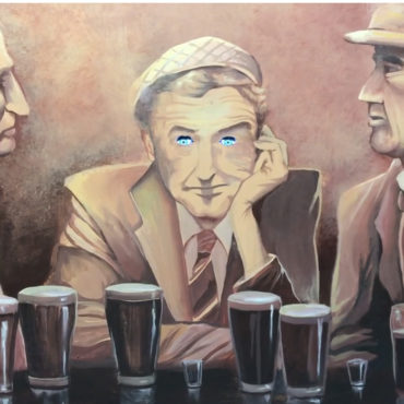 Painting with eyes that follow in Old Sacramento